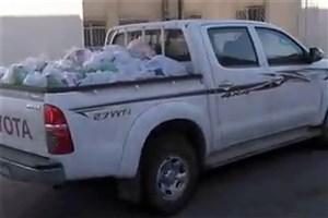 توزیع اقلام مورد نیاز سیلزدگان توسط قرارگاه جهادی دانشگاه آزاد اسلامی