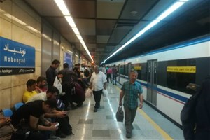 حریق در خط 3 مترو در ایستگاه نوبنیاد