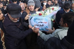 پیکر شهید حادثه هواپیمای اوکراینی در زنجان تشییع شد + عکس