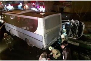 برخورد پژو ۲۰۶ با اتوبوس شهری / 2 نفر مصدوم شدند