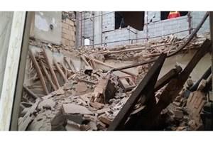 ساختمان متروکه فرو ریخت/ ریزش آوار در خیابان دماوند