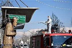 Disinfecting Valiasr Street in Tehran to Contain the Coronavirus/ In Photo
