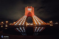 "Azadi Tower Lit Up in Tribute to Frontline Workers and with Reminders to ""Stay Home""/ In Photos"