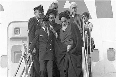 Imam Khomeini (front-R), the founder of the Islamic Republic, returned to Iran on February 1, 1979.